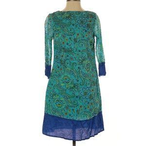 Isaac Mizrahi Blue Paisley Boho Style Casual Dress